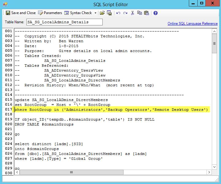 StealthAUDIT - SQL Script Editor