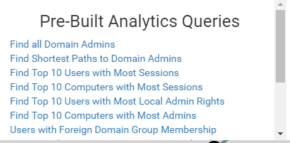 BloodHound Pre-Built Analytics Queries like 'Find all Domain Admins' and 'Find Shortest Paths to Domain Admins'