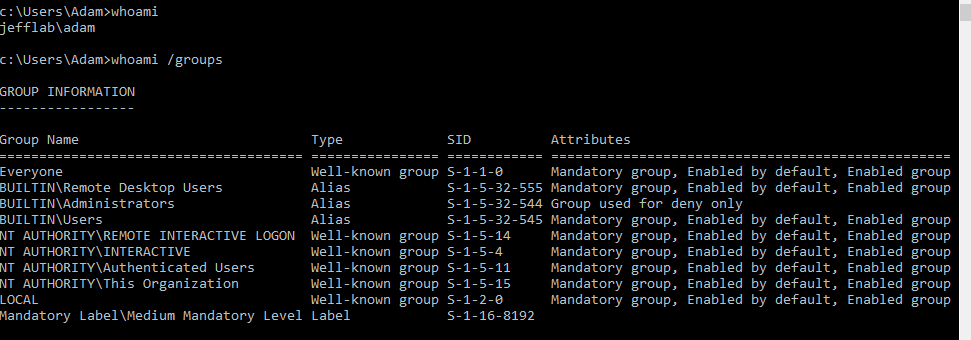 Showing group membership for the logged in user, which contains no domain groups.
