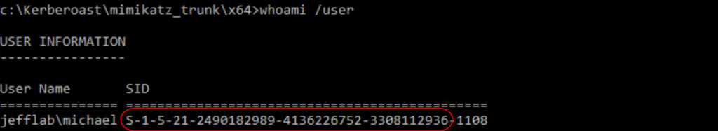 Using Mimikatz to obtain the Domain SID with the Whoami/User command to create Silver Tickets