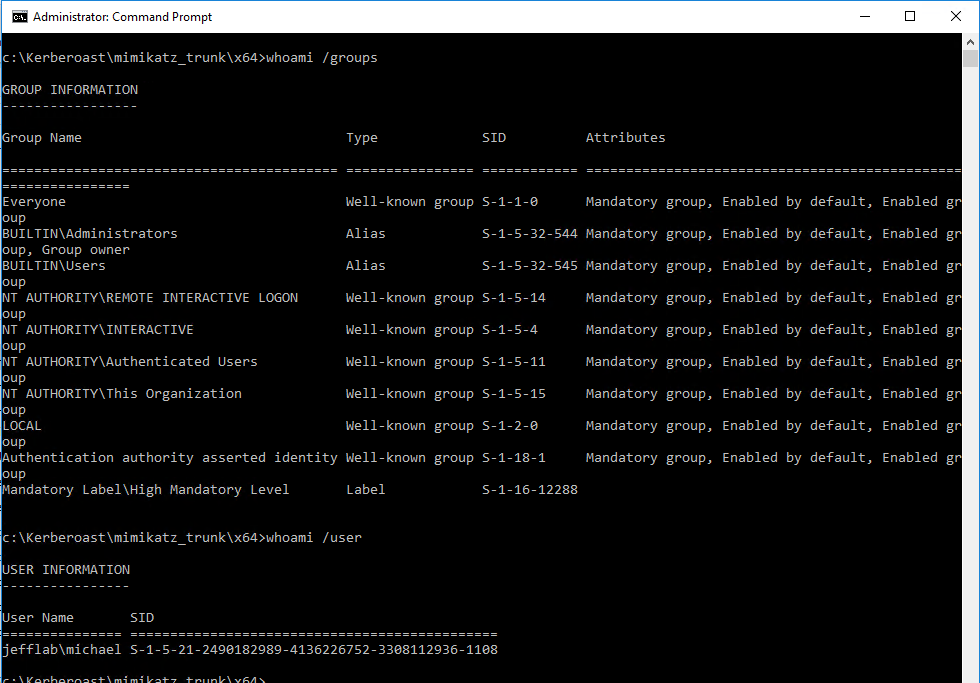 Displaying the group membership and user information for the current user, showing that the user has no Active Directory domain privileges