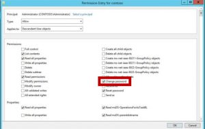 monitoring password reset permission assigned within Active Directory at the Organization Unit level or at the user object level for any time this permission is changed