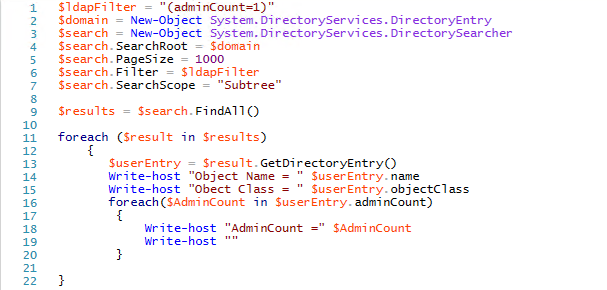 Using PowerShell and an LDAP filter to find Active Directory objects with adminCount=1 to see how extensive an attack against AdminSDHolder could be