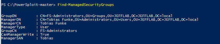 PowerSploit Find-ManagedSecurityGroups command returning list of Active Directory groups with their managers