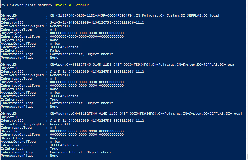 PowerSploit and the Invoke-ACLScanner command returning exploitable Active Directory permissions
