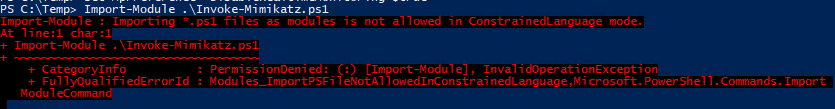 With Constrained Language enabled, malicious PowerShell scripts like Invoke-Mimikatz will not work