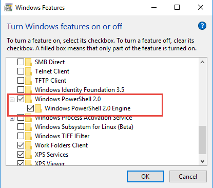 Removing the PowerShell 2.0 Feature from Windows and turning off Windows PowerShell 2.0 Engine
