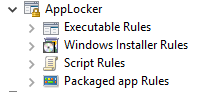 When creating AppLocker policies, you can apply them to files, executables, scripts, and packaged apps using Windows Installer Rules, Executable Rules, Script Rules, Packaged app Rules