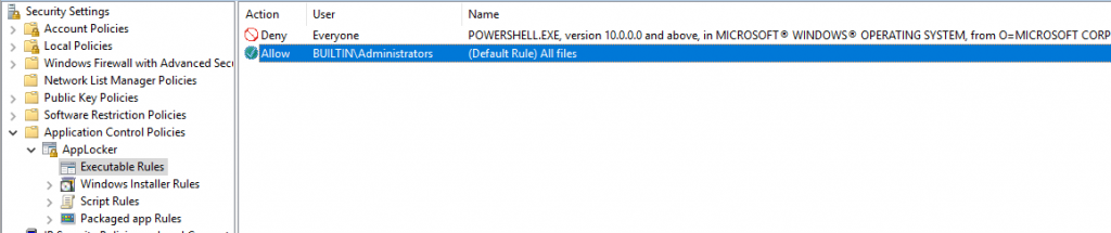 Use Executable Rules in AppLocker to block PowerShell.exe from being run by non-administrators