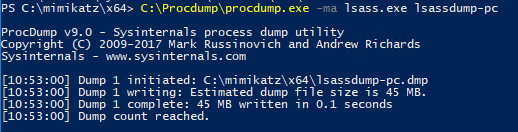 Create a dump file for the lsass process with ProcDump and extract plain text passwords with Mimikatz minidump and the sekurlsa::minidump command