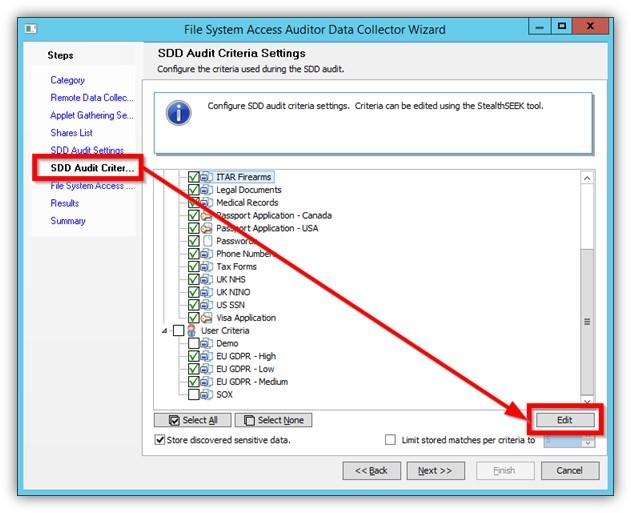 SDD Audit Criteria Settings, Data discovery, sensitive data
