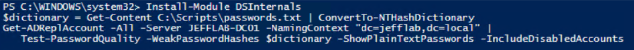 Active Directory password security with the DSInternals Test-PasswordQuality command