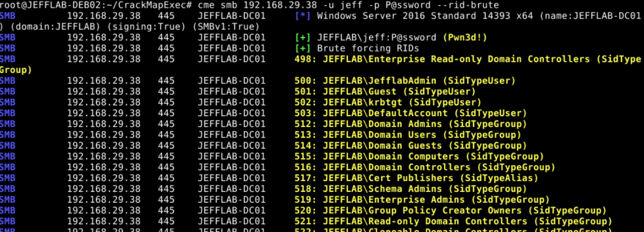 Building a list of users with CrackMapExec and –rid-brute