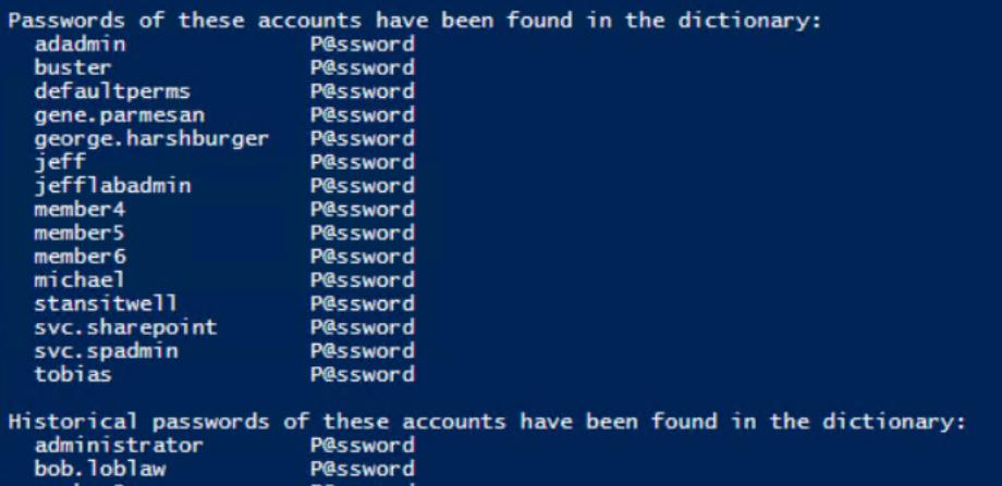 Viewing weak passwords with DSInternals and Test-PasswordQuality