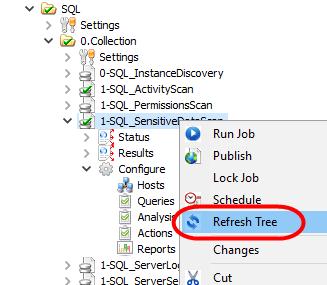 SQL. SQL Sensitive Data, SQL Scan, Microsoft SQL, Microsoft SQL Security, Refresh Tree