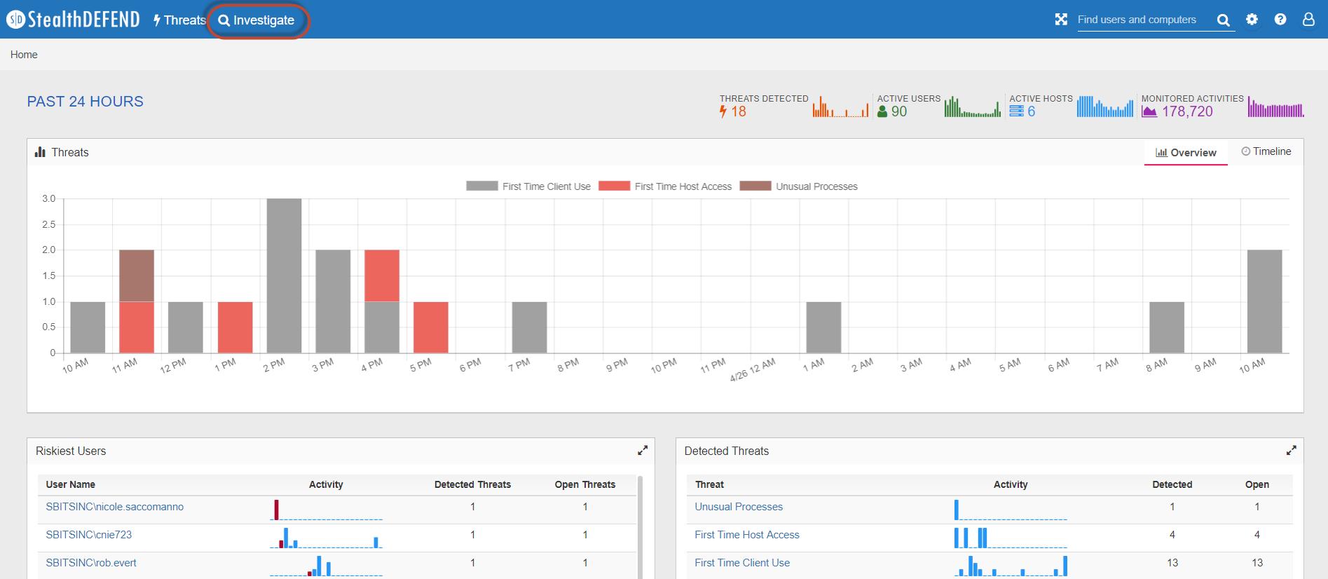StealthDEFEND 1.1, StealthDEFEND 1.1 Investigate, Threat Analytics, Investigate Threats