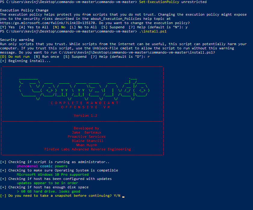 PowerShell window after kicking off the install script