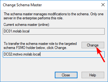 Transfer of the Schema Master role to the targeted domain controller