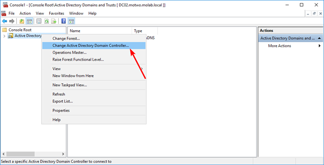 Change Active Directory Domain Controller to transfer FSMO Role