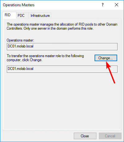 Transfer FSMO role to the targeted domain controller