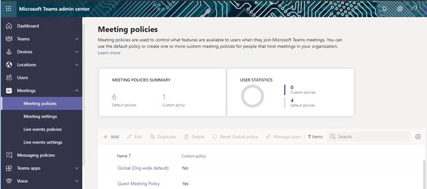 Meeting Policies Page