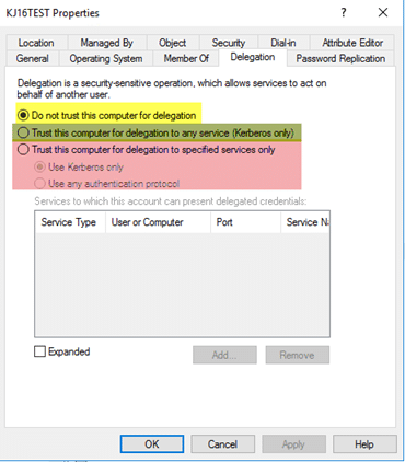 Delegation tab in Active Directory Users and Computers