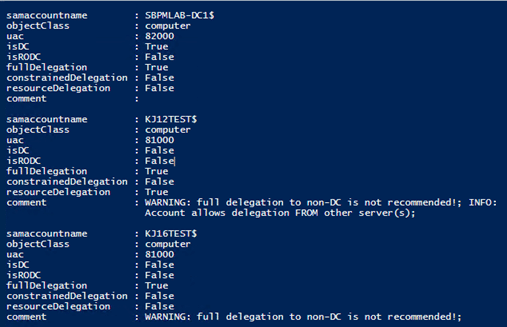 Example output from script to identify delegation