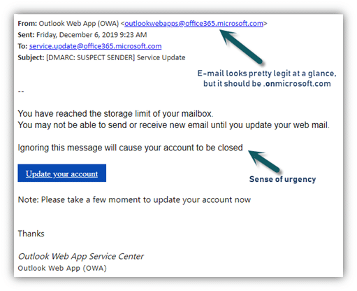 """Phishing Example: """"Running out of space"""" and sense of urgency"""