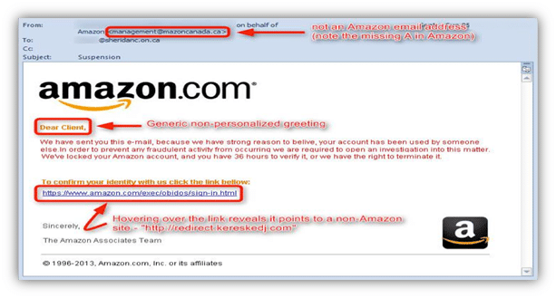 Phishing Example: Hovering over the link reveals a different URL than shown