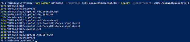 Constrained delegation configured for the cifs and ldap SPN on the SBPMLAB-DC2 host