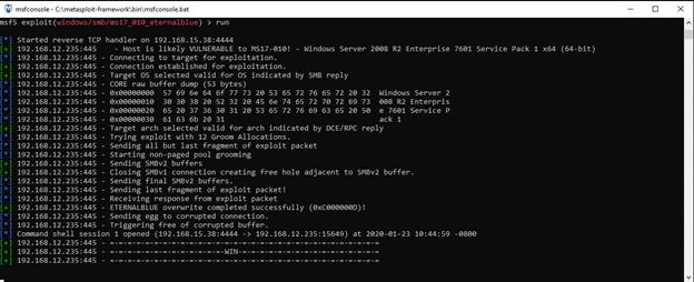 Exploiting EternalBlue on the target system in SMBv1