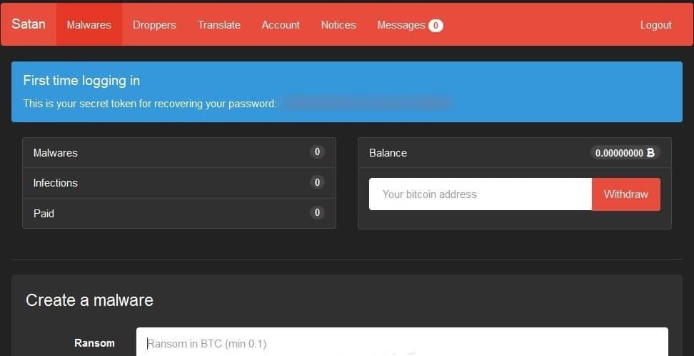 Actual screenshot of 'Satan' Malware as a Service