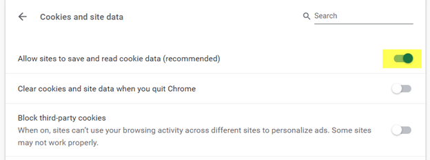 Allow sites to save and read browser cookie data (recommended)