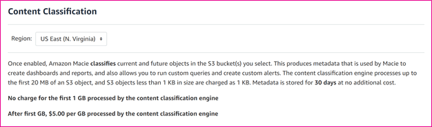 Amazon Macie Content Classification Cost