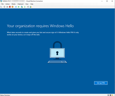 Windows Hello Device Registration Screen