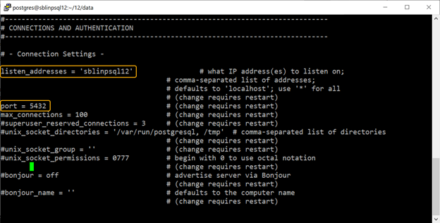 Changing two settings in the postgresql.conf file located in the $PGDATA directory