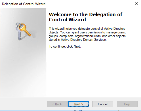 Delegation of Control Wizard