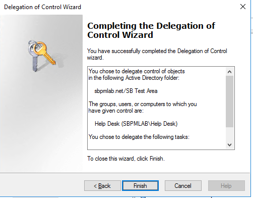 Completion of Delegation of Control Wizard