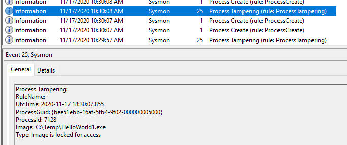 Sysmon capturing process tampering in the Windows Event Logs - Type: Image is locked for access