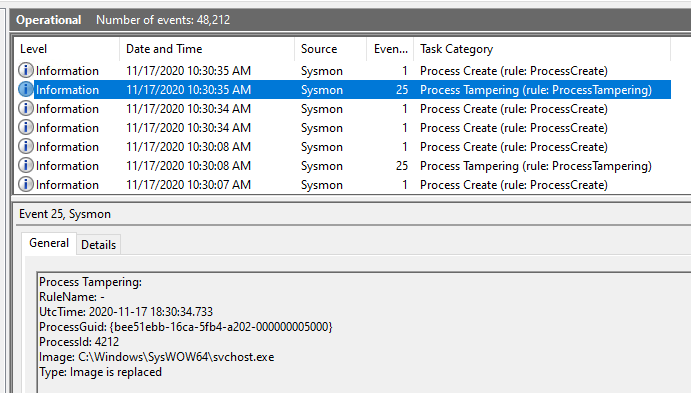 Sysmon capturing process tampering in the Windows Event Logs - Type: Image is replaced