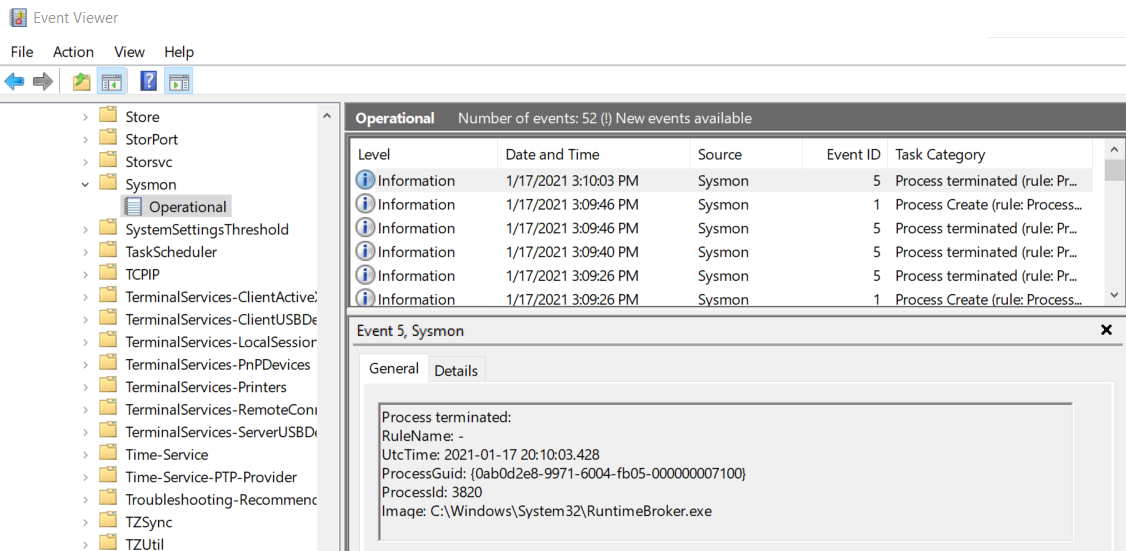 Sysmon logs in Windows Event Logs
