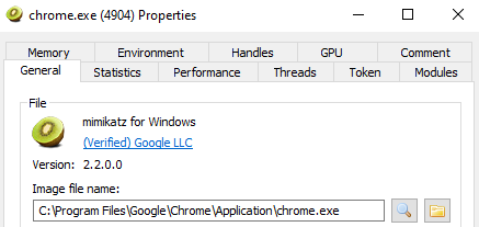 Mimikatz running as chrome.exe, as a result of Process Herpaderping
